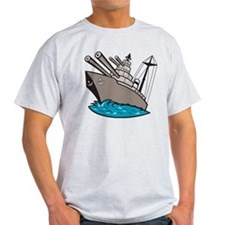 Warship Battleship Boat With Big Guns T-Shirt