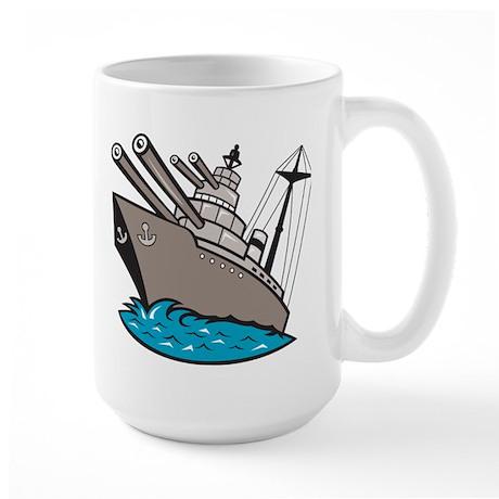 Warship Battleship Boat With Big Guns Large Mug
