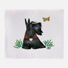 Scotty and Butterfly Throw Blanket