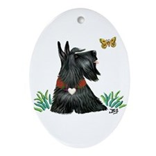 Scotty and Butterfly Ornament (Oval)