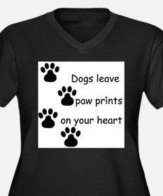 Cool Dogs leave paw Women's Plus Size V-Neck Dark T-Shirt