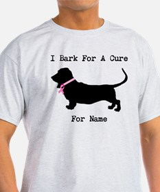 Basset Hound Personalizable Bark For A Cure T-Shirt