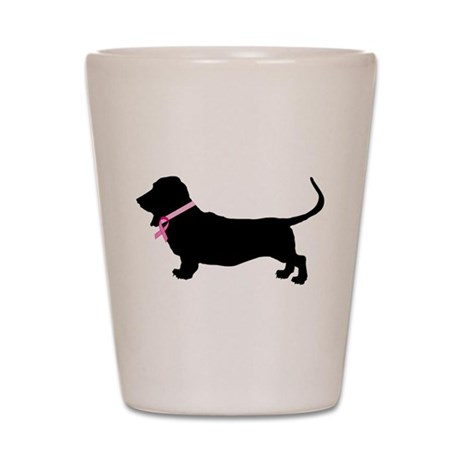 Basset Hound Breast Cancer Support Shot Glass
