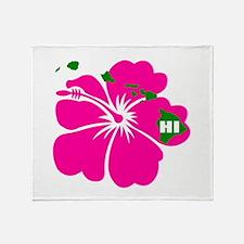 Hawaii Islands & Hibiscus Throw Blanket