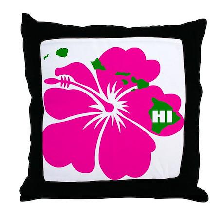 Hawaii Islands & Hibiscus Throw Pillow