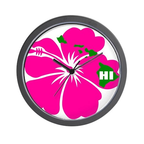 Hawaii Islands & Hibiscus Wall Clock