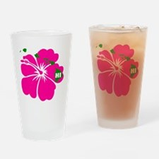 Hawaii Islands & Hibiscus Drinking Glass