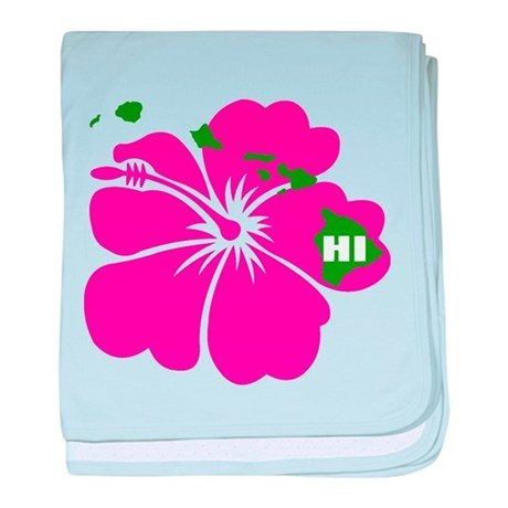 Hawaii Islands & Hibiscus baby blanket