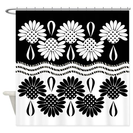 Black And White Floral Wave Shower Curtain By Expressyoursoul