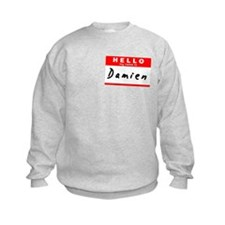 Damien, Name Tag Sticker Sweatshirt