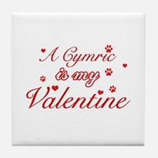 A Cymric is my valentine Tile Coaster