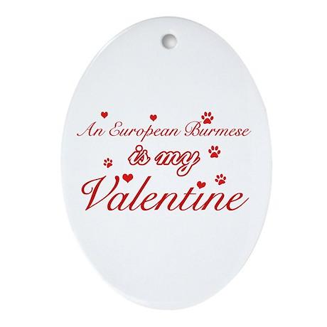 An European Burmes is my Valentine Ornament (Oval)