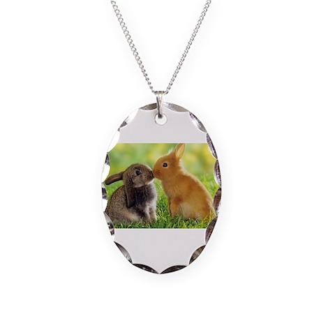 Love Bunnies Necklace Oval Charm