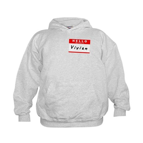Vivian, Name Tag Sticker Kids Hoodie