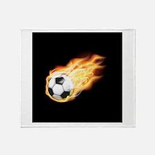 Fiery Soccer Ball Throw Blanket