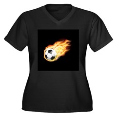 Fiery Soccer Ball Women's Plus Size V-Neck Dark T-