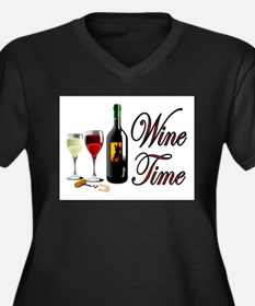 WINE OCLOCK Women's Plus Size V-Neck Dark T-Shirt