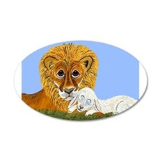 Lion And Lamb 22x14 Oval Wall Peel