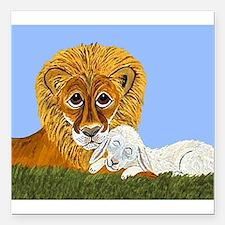 "Lion And Lamb Square Car Magnet 3"" x 3"""