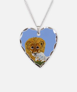 Lion And Lamb Necklace Heart Charm