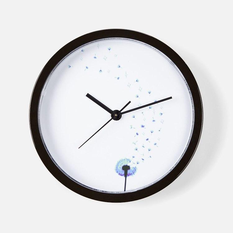 Dandelion seeds blowing in the wind Wall Clock