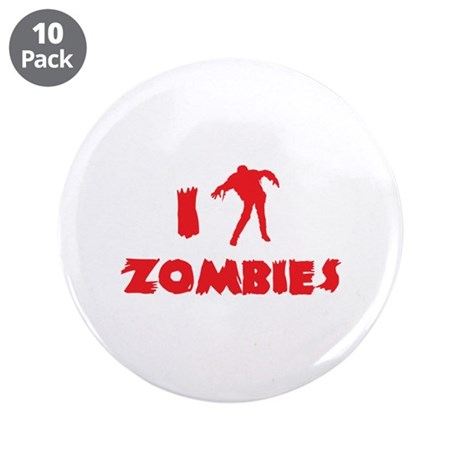 """I Love Zombies 3.5"""" Button (10 pack)"""