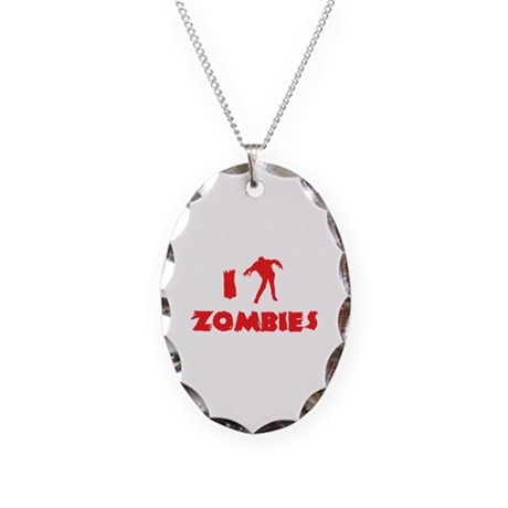 I Love Zombies Necklace Oval Charm
