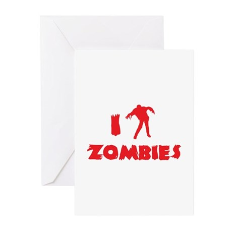 I Love Zombies Greeting Cards (Pk of 10)
