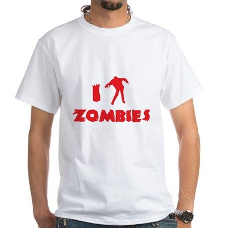 I Love Zombies White T-Shirt