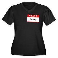 Chong, Name Tag Sticker Women's Plus Size V-Neck D