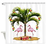 Christmas flamingo Shower Curtains