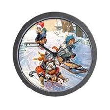 Cats in the Snow Wall Clock