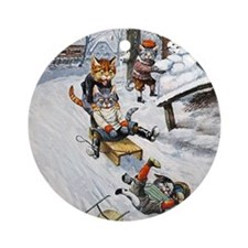Cats in the Snow Ornament (Round)