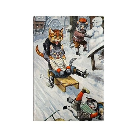 Cats in the Snow Rectangle Magnet