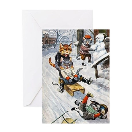 Cats in the Snow Greeting Card