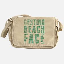 Resting Beach Face Print Messenger Bag