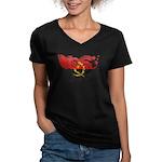 Angola Flag Women's V-Neck Dark T-Shirt