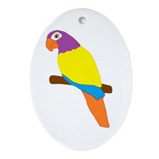 Parrot Bird Design Ornament (Oval)