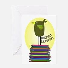 retired librarian BOOK BIRD 2.PNG Greeting Card