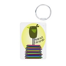 retired librarian BOOK BIRD 2.PNG Keychains