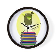retired librarian BOOK BIRD 2.PNG Wall Clock