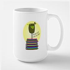 retired librarian BOOK BIRD 2.PNG Large Mug