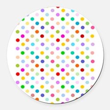 Rainbow Polka Dots Round Car Magnet