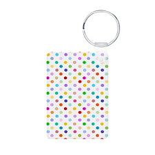 Rainbow Polka Dots Aluminum Photo Keychain