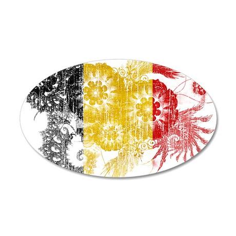 Belgium Flag 38.5 x 24.5 Oval Wall Peel