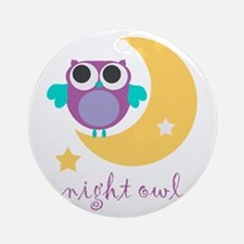 night owl with moon and star.png Ornament (Round)