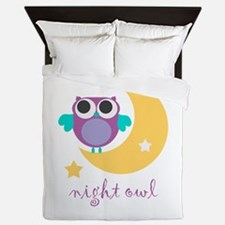 night owl with moon and star.png Queen Duvet