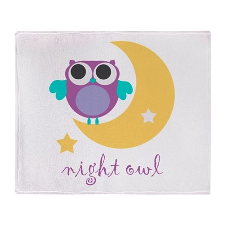 night owl with moon and star.png Throw Blanket