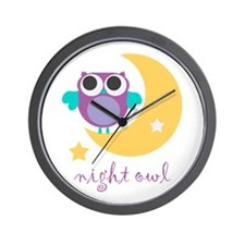 night owl with moon and star.png Wall Clock