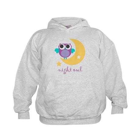 night owl with moon and star.png Kids Hoodie